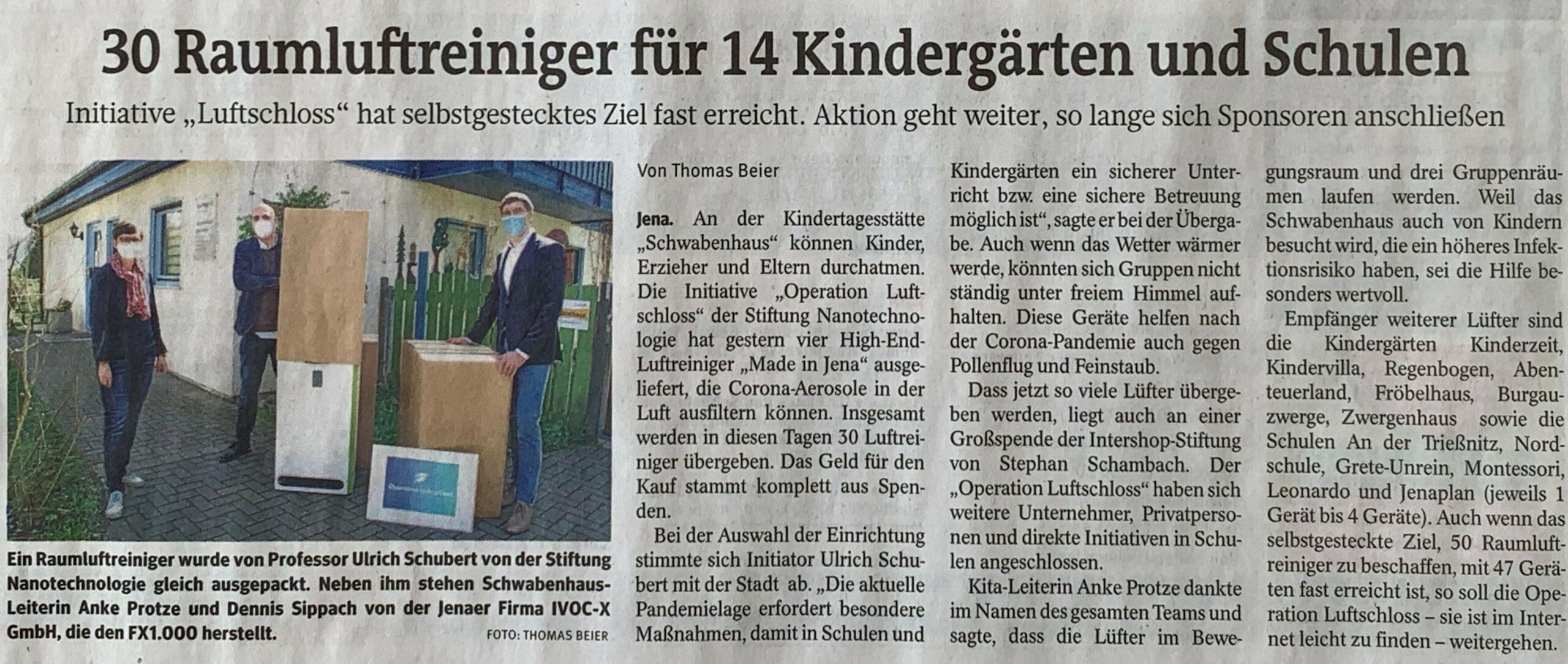 30 High-End-Luftreiniger Für Jenaer Kitas & Schulen